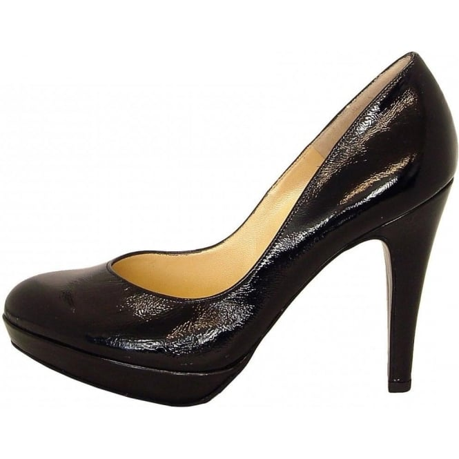 Lukrezia black crackle patent stilettos
