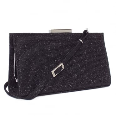 Magalie Black Shimmer Clutch Bag