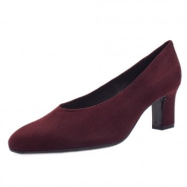 Mahirella Classic Mid Heel Court Shoes in Cabernet Suede
