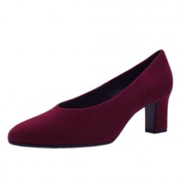 Mahirella Classic Mid Heel Court Shoes in Jam Suede