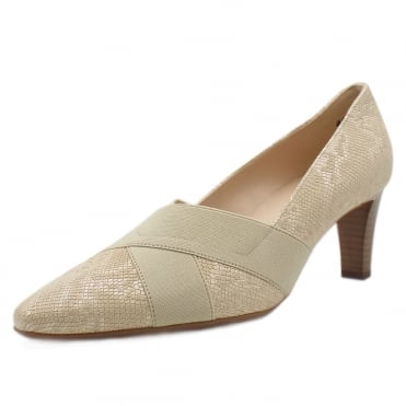 Malana Mid Heel Court Shoes in Sand Tiles