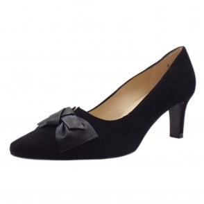 Mallory 1 Mid Heel Pointed Toe Court Shoes in Black Suede