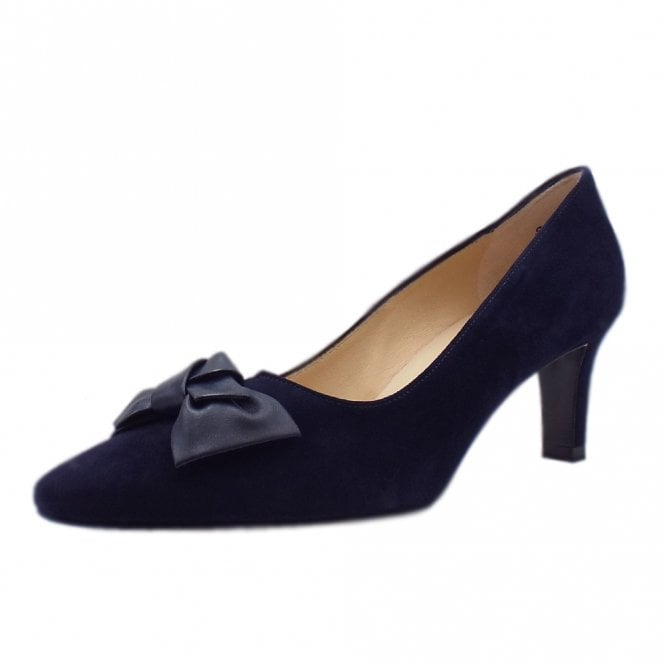 Mallory 1 Mid Heel Pointed Toe Court Shoes in Notte Suede