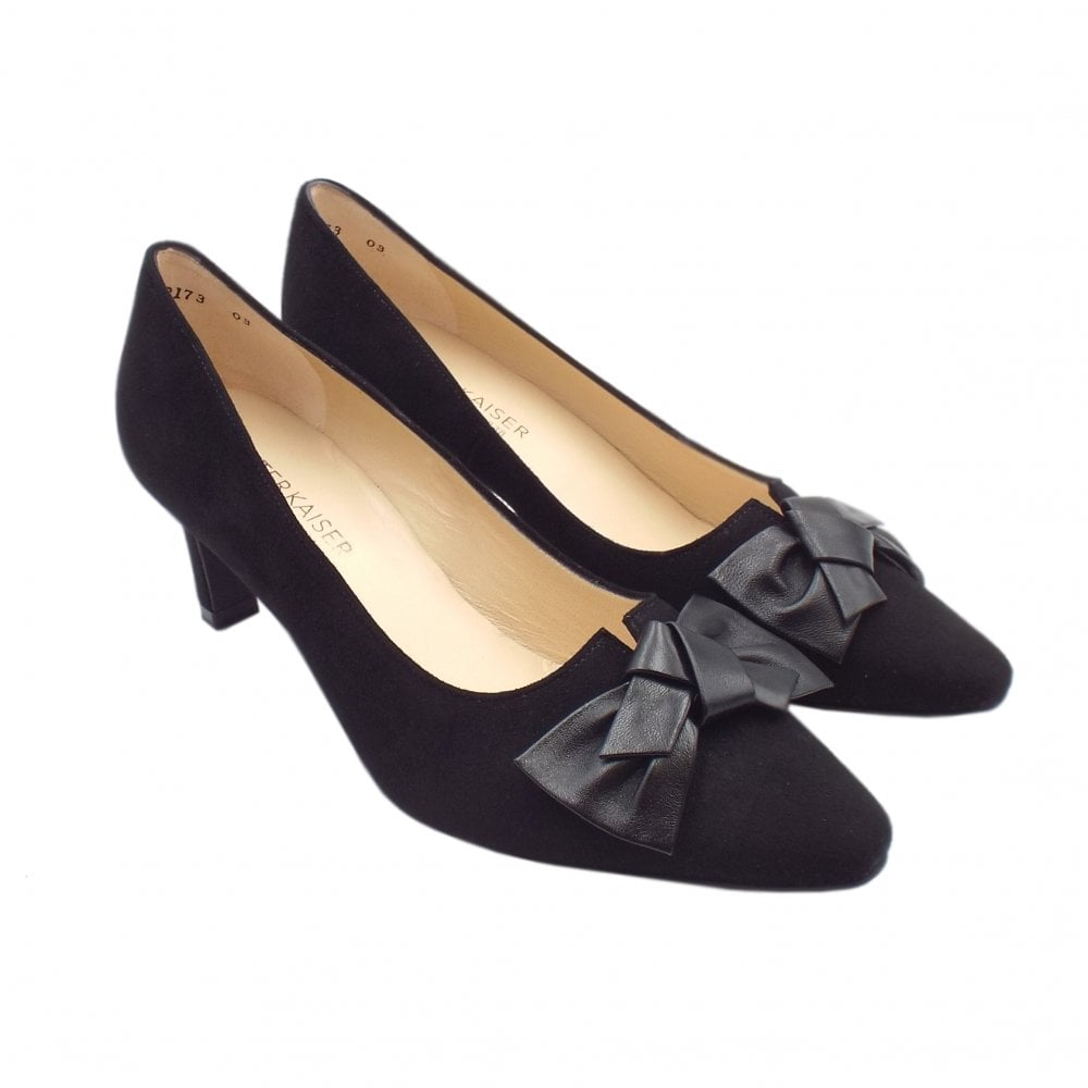 9be5ede2d3e ... Mallory Mid Heel Pointed Toe Court Shoes in Black Suede ...
