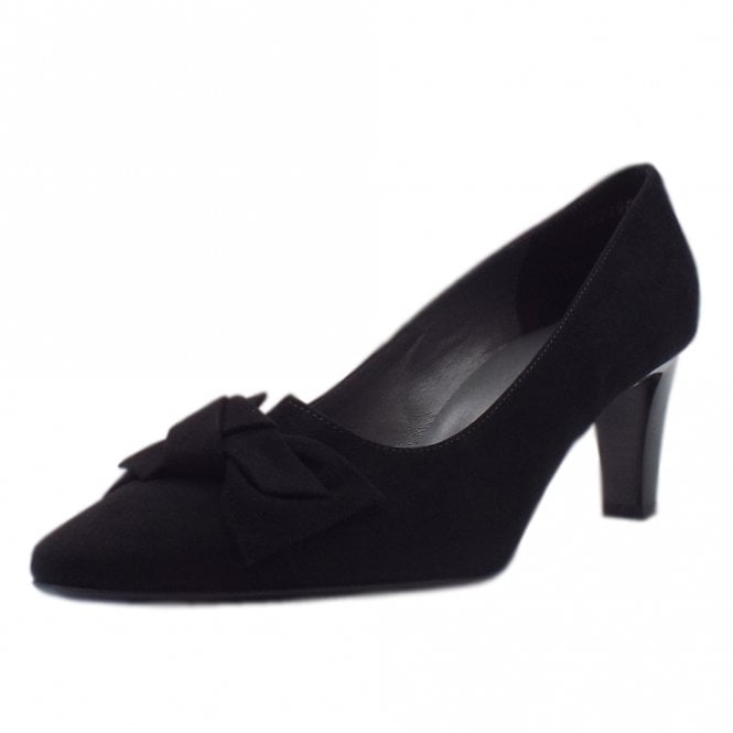 Mallory Mid Heel Pointed Toe Court Shoes in Black Suede