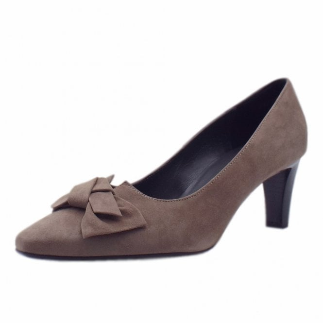 Mallory Mid Heel Pointed Toe Court Shoes in Fur Suede
