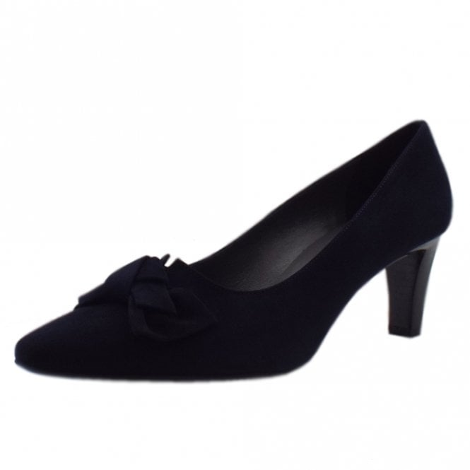 Mallory Mid Heel Pointed Toe Court Shoes in Navy Suede