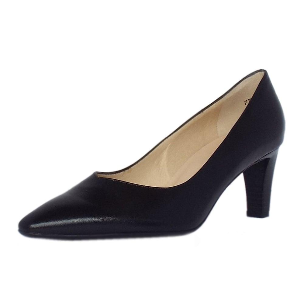 peter kaiser mani black leather semi pointed mid heel pumps. Black Bedroom Furniture Sets. Home Design Ideas