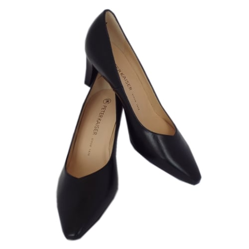 ... Mani Classic Semi-Pointed Mid Heel Court Shoes in Black Leather ...