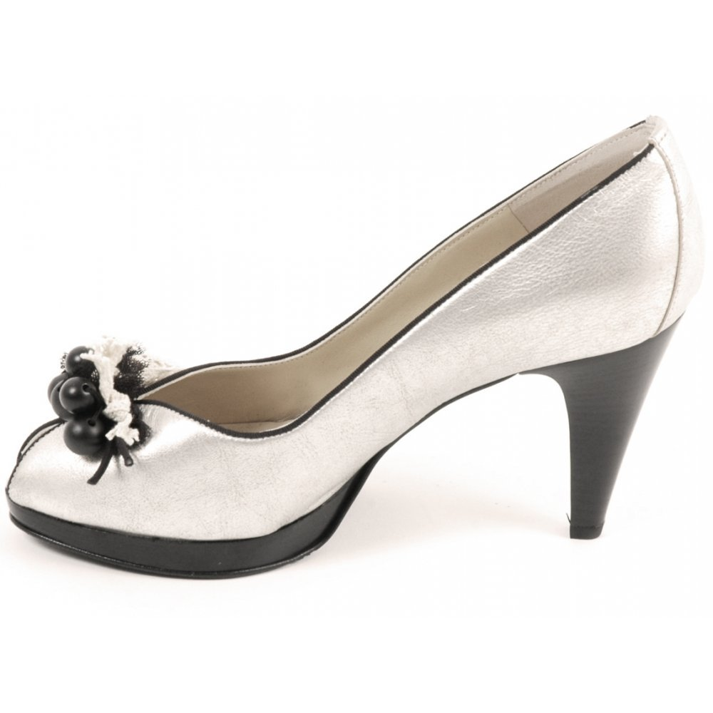 Shoes : Peter Kaiser : Manja peep toe shoes in black and silver