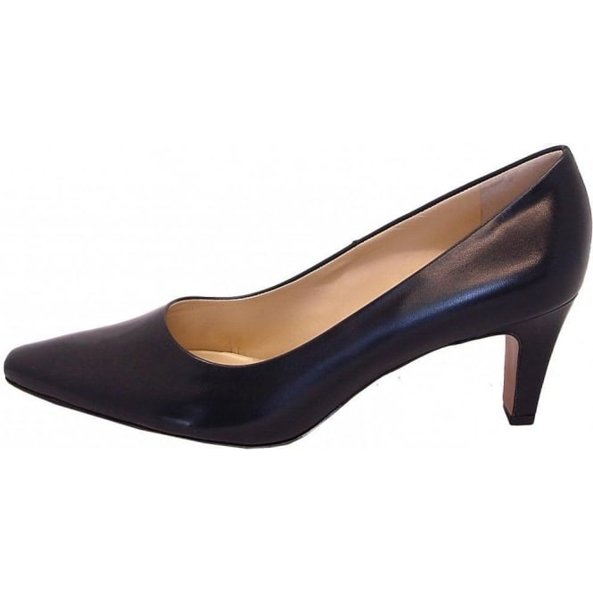 kaiser manolo navy leather court shoe