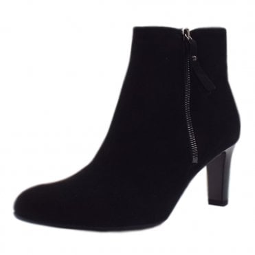 Marian Ladies Fashion Ankle Boot in Black Suede