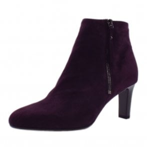 Marian Ladies Fashion Ankle Boot in Wine Suede