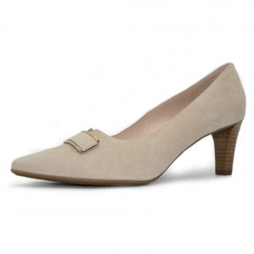 Mary Heel Court Shoe in Sand Suede