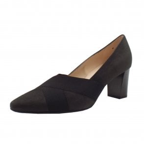 Mea Mid Heel Court shoes in Carbon Suede