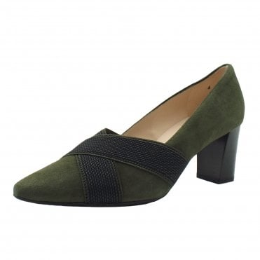 Mea Mid Heel Court shoes in Pine Suede
