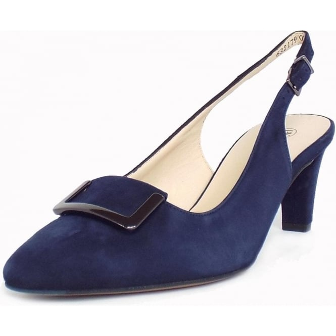 Merlina Navy Notte Suede Sling Back Pumps