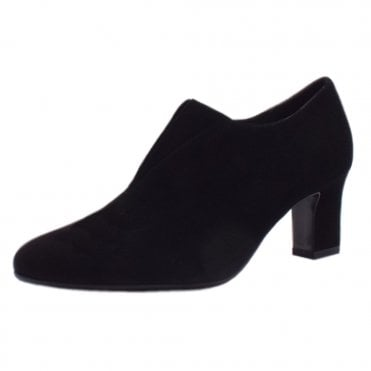 Miaka Black Suede Mid Heel High Top Pumps