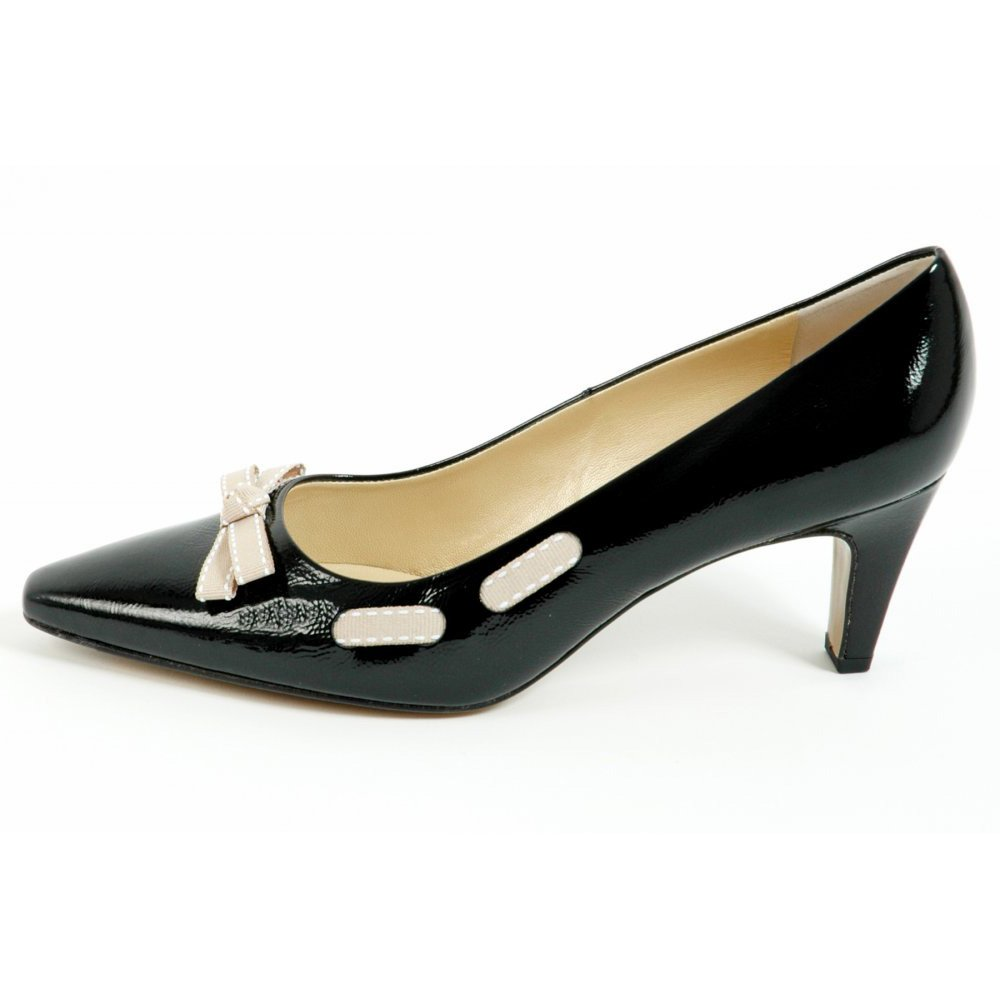 Leather Court Shoes Mid Heel