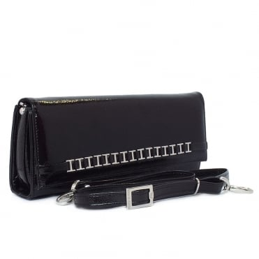 Mimi Black Crackle Patent Leather Evening Bag