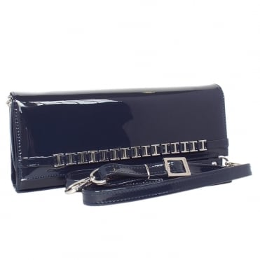 Mimi Navy Vit Glossy Patent Leather Evening Bag