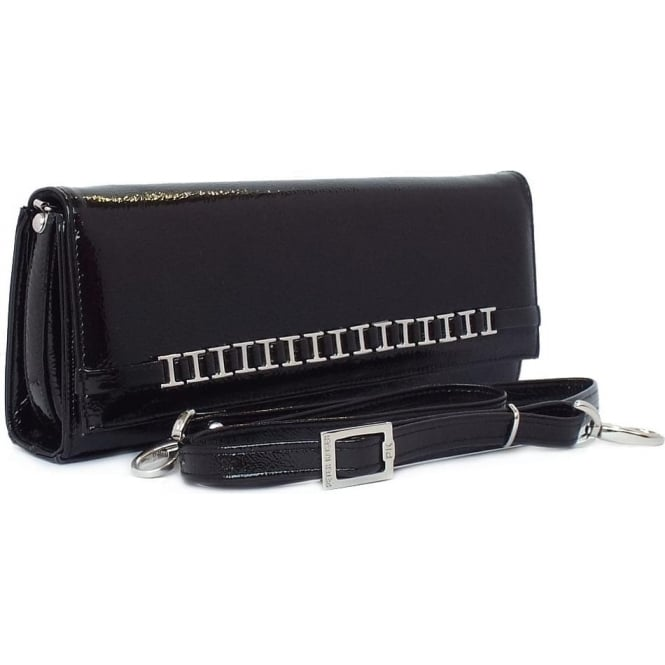 Mimi Women's Dressy Shoulder Clutch Bag in Black Crackle Patent