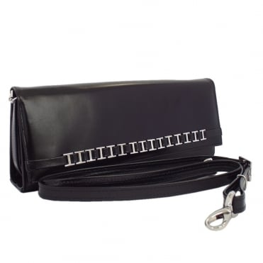 Mimi Women's Dressy Shoulder Clutch Bag in Black Leather