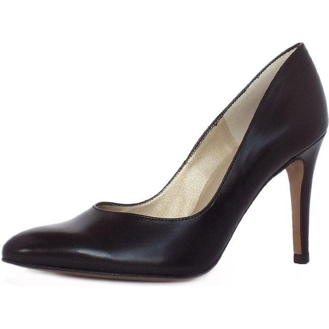 Mina Stiletto Shoe in Black Leather