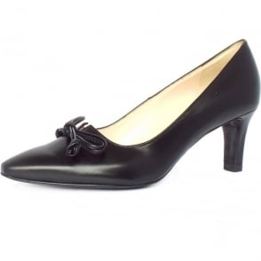 Mizzy Black Chevro Leather Mid Heel Pointy Pumps