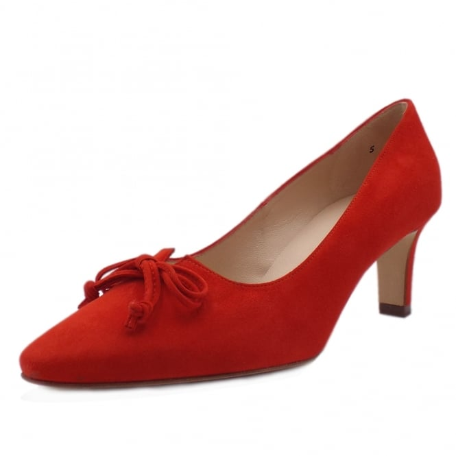 Mizzy Coral Red Mid Heel Pointy Pumps