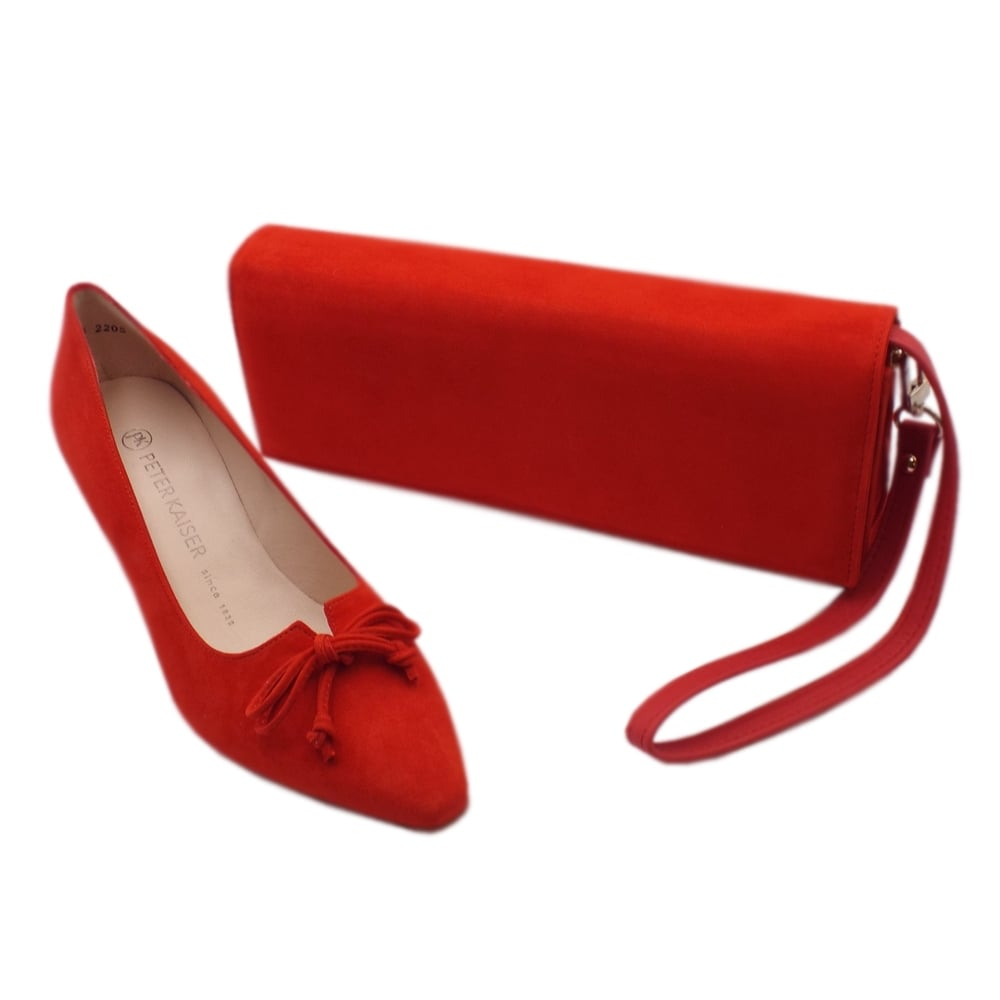 Peter Kaiser UK - Mizzy - Coral Red Pointed Toe Mid Heel Pumps