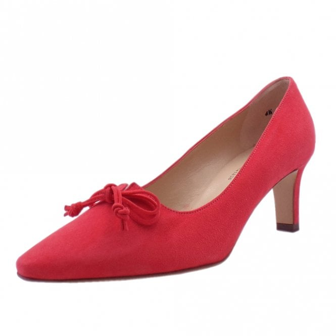 Mizzy Sharon Pink Suede Mid Heel Pointy Pumps