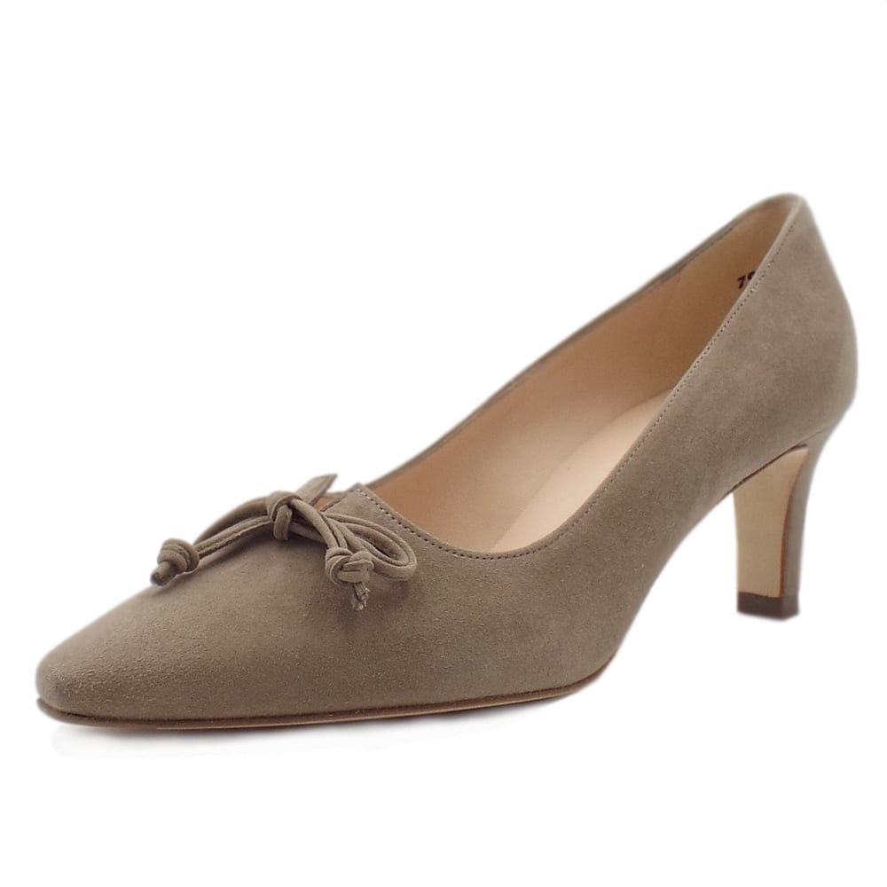 Taupe Suede Pointed Toe Mid Heel Pumps