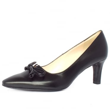 Mizzy Women's Mid Heel Pointed Toe Court Shoes in Black Leather