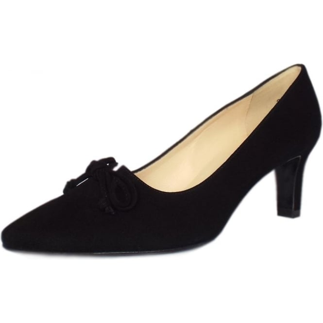 Mizzy Women's Mid Heel Pointed Toe Court Shoes in Black Suede
