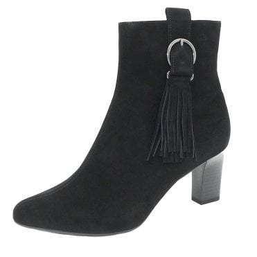 Peter Kaiser Monic Tassel Ankle Boot in Black Suede