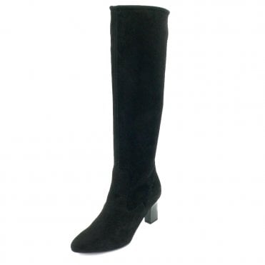 Peter Kaiser Monja-A Pull On Stretch Knee High Boots in Black Suede