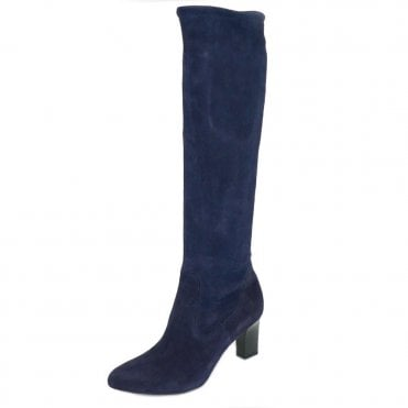 Monja-A Pull On Stretch Knee High Boots in Navy Suede