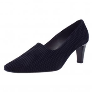 Mova Classic Mid Heel Court Shoes in Navy Nico