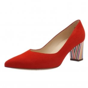 Naja Coral Red Brasil Suede Block Heel Fashionable Pumps
