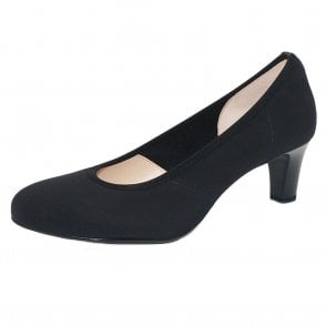 Peter Kaiser Nancy Mid Heel Court Shoes in Black Stretch