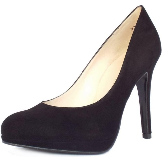 Nevena Black Suede Stiletto Pumps With Small Platform