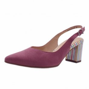 Nexy Cassis Suede Sling Back Pumps