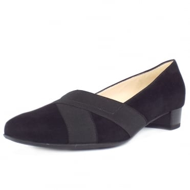 Nigela Low Heel Court Shoes in Black Suede