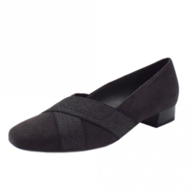 Nigela Low Heel Wide Fit Ballet Pumps in Carbon Suede