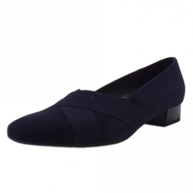 Nigela Low Heel Wide Fit Ballet Pumps in Navy Suede