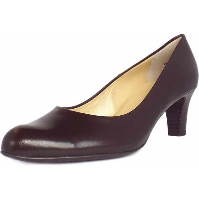 Nika Nuba Brown Leather Classic Mid Heel Pumps