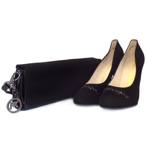 peter kaiser nikola ladies black suede high heel court shoes. Black Bedroom Furniture Sets. Home Design Ideas