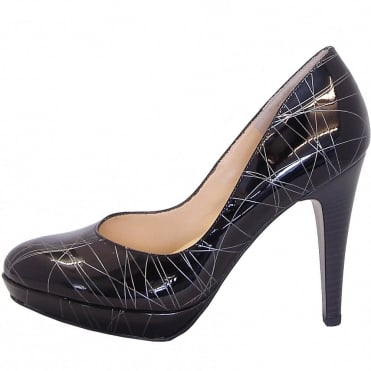 Nixe black and silver patent stiletto court shoes