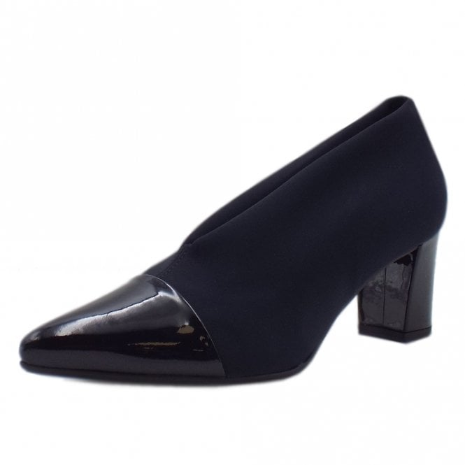 Noemita Pointed Toe Mid Heel Stretch Shoes in Notte Patent